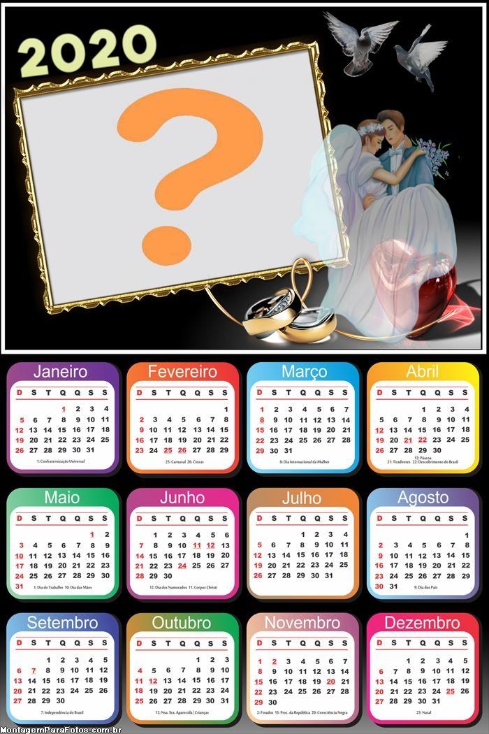 Calendário 2020 Casamento Foto Montagem