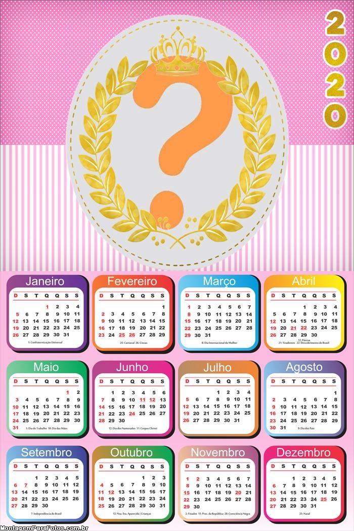 Calendário 2020 para Meninas Realeza