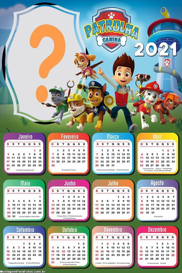 Calendário 2021 da Patrulha Canina