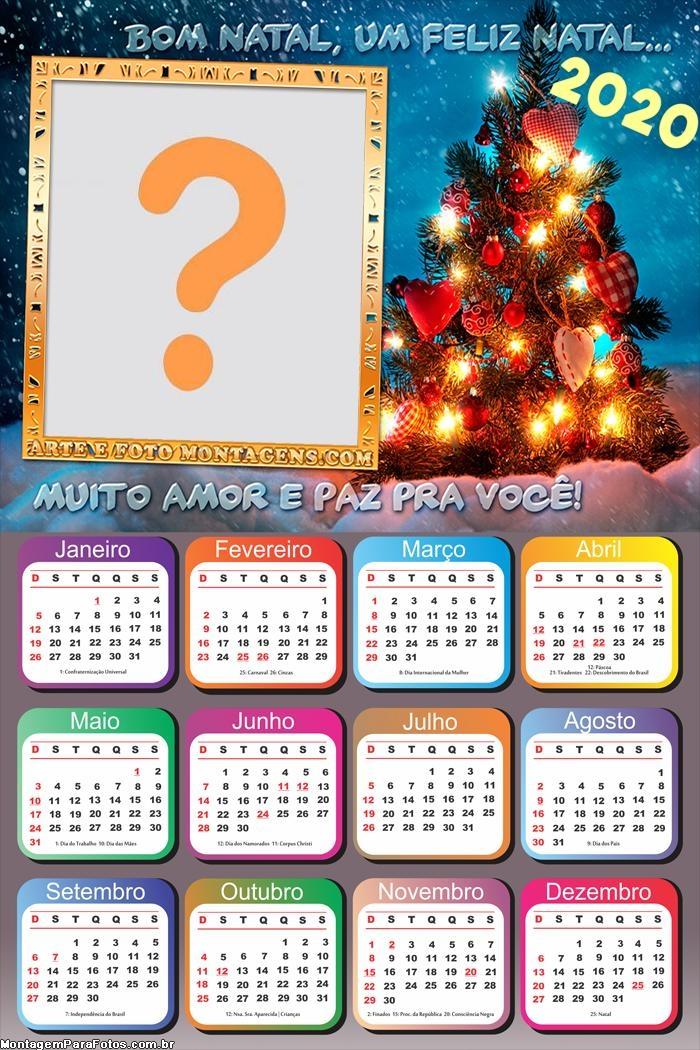 Calendário 2020 Mensagem de Natal