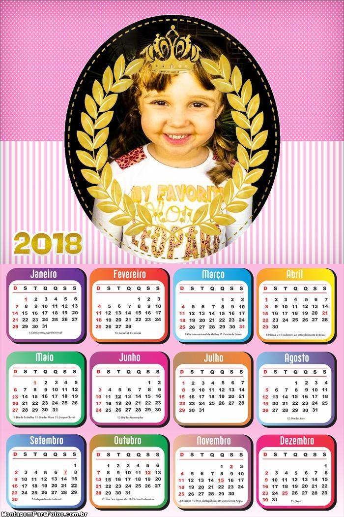Calendário 2018 Realeza