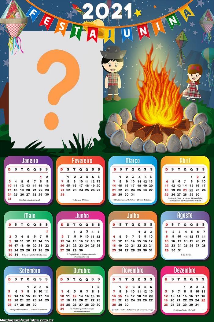 Calendário 2021 Fogueira de Festa Junina