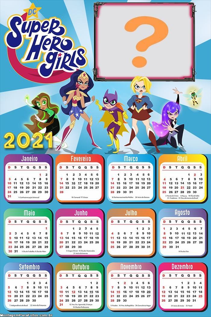 Calendário 2021 DC Super Hero Girls