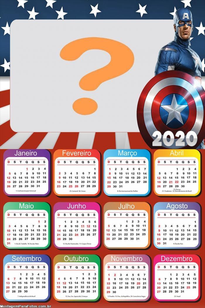 Calendário 2020 Capitão América Guerra Civil