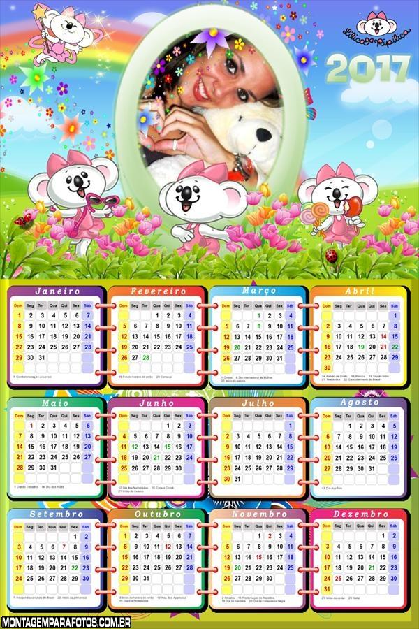 Calendário 2017 Jardim de Flores Lilica Ripilica