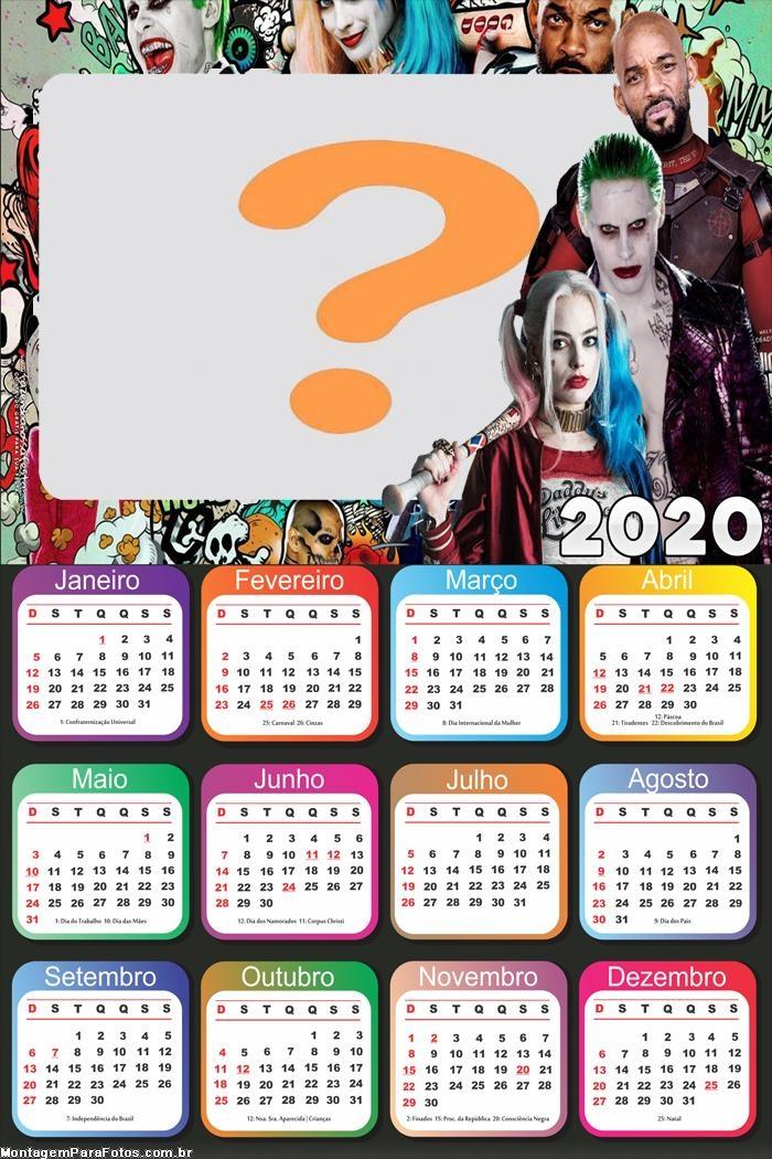 Colagem Calendário 2020 Esquadrão Suicida