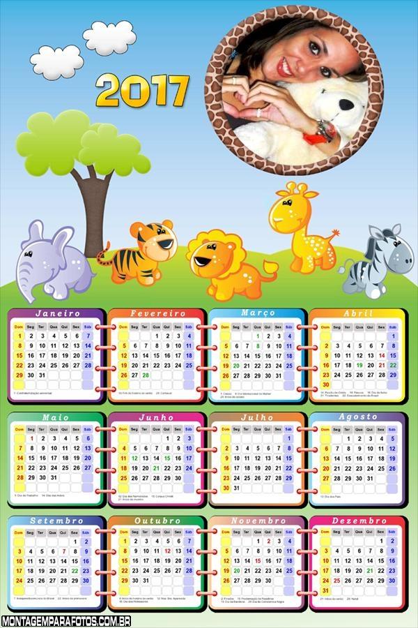 Calendário 2017 Tema Safari