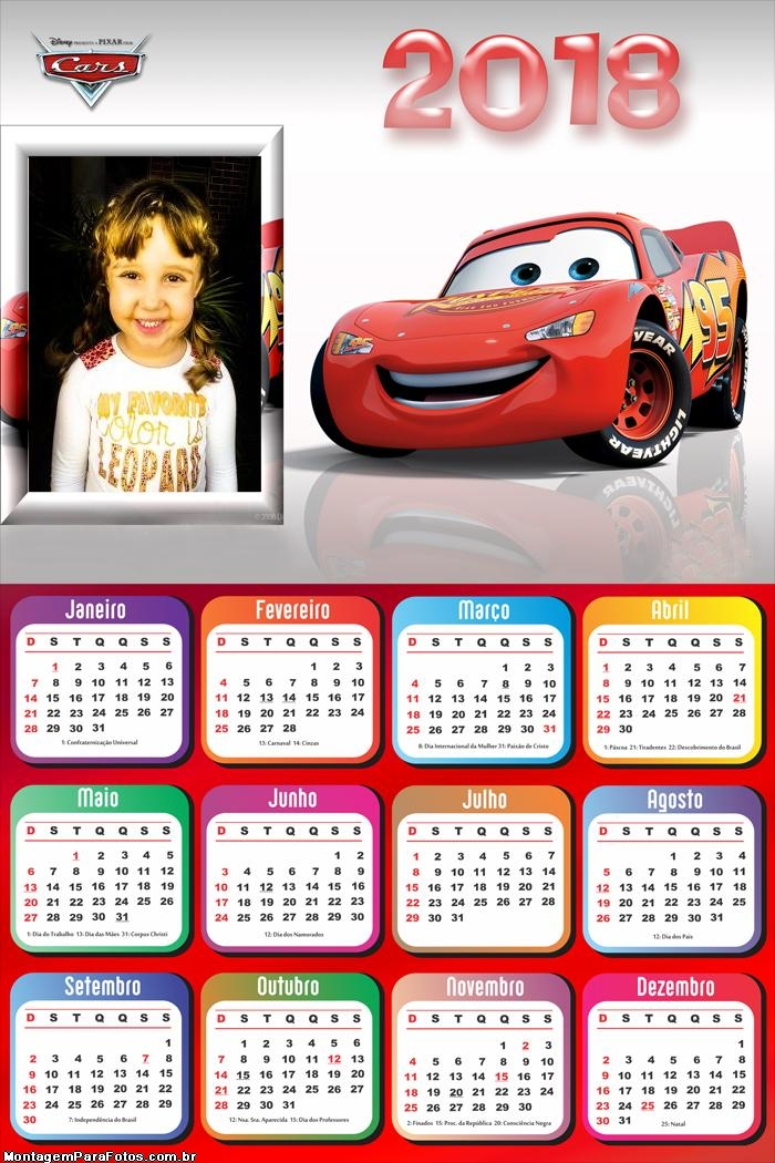 Calendário 2018 Relâmpago McQueen
