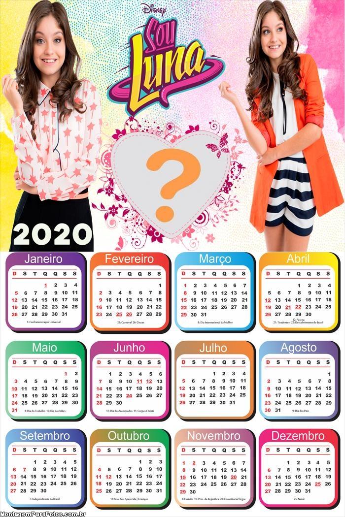 Calendário 2020 Sou Luna Montagem de Fotos Online