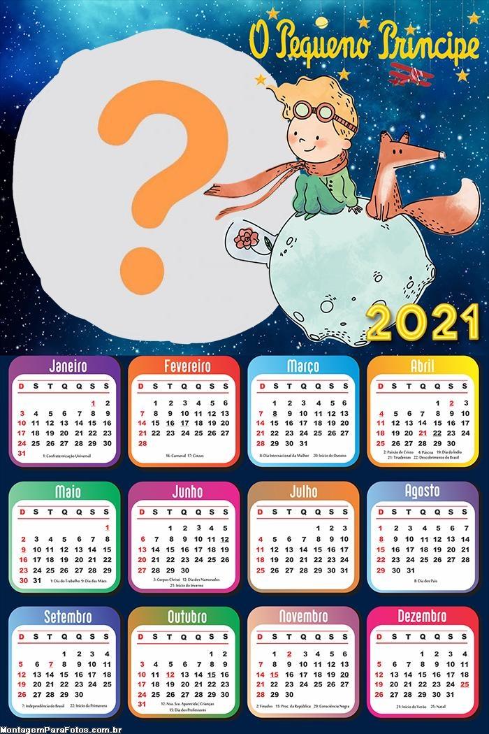 Calendário 2021 O Pequeno Príncipe Imprimir A4