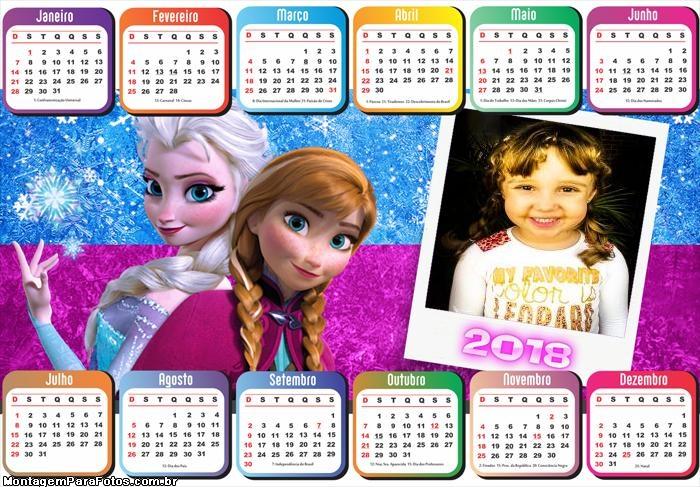 Calendário 2018 Elsa Frozen e Anna Frozen
