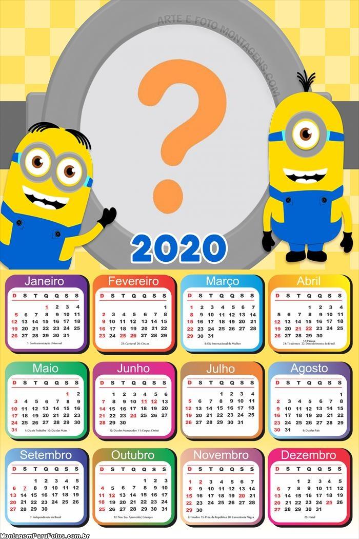 Calendário 2020 Minions FotoMoldura