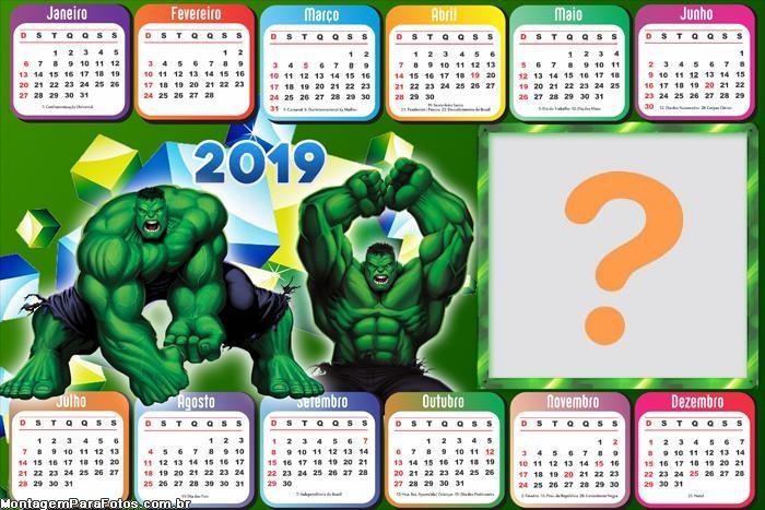 Calendário 2019 Horizontal Hulk