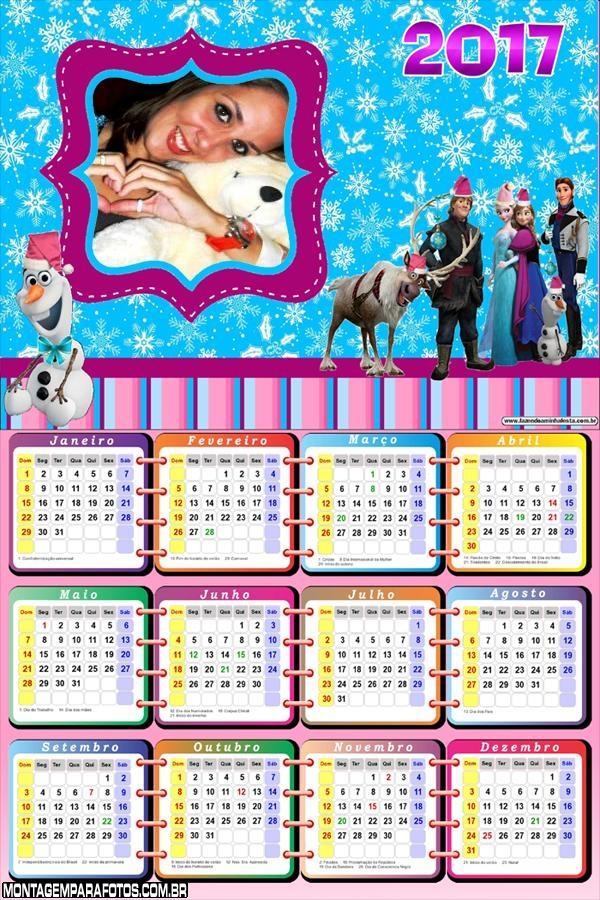 Calendário 2017 Personagens Frozen