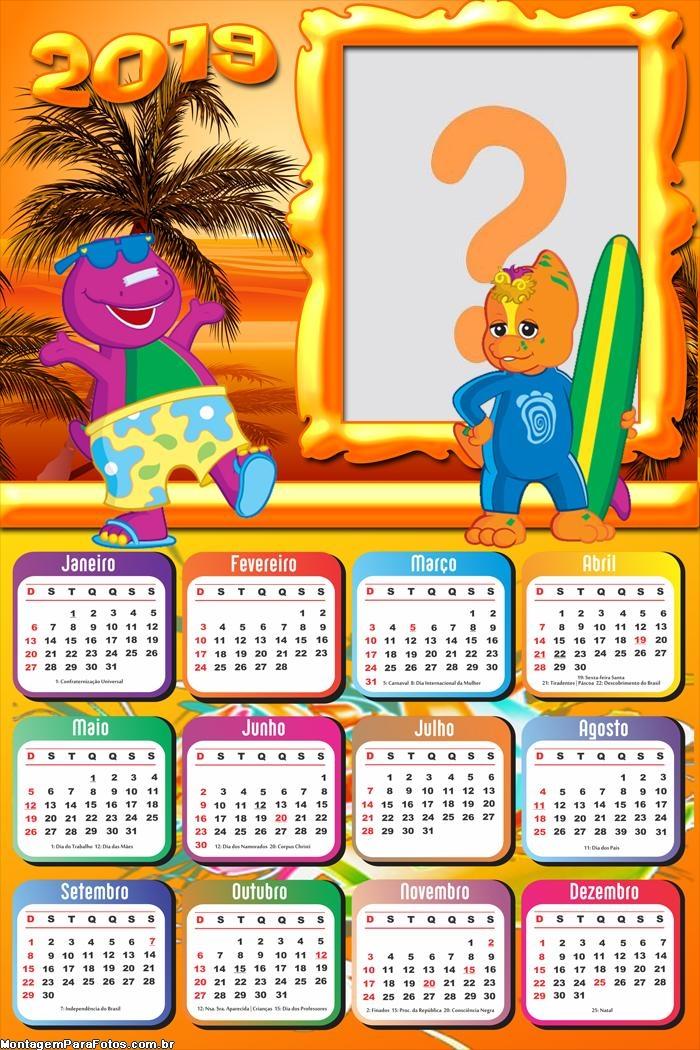Calendário 2019 Barney na Praia