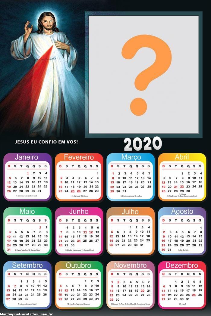 Calendário 2020 Mensagem Jesus Eu Confio e Vós