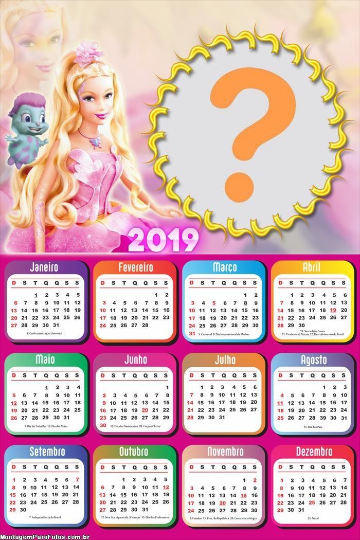 Calendário 2019 Mascote da Barbie