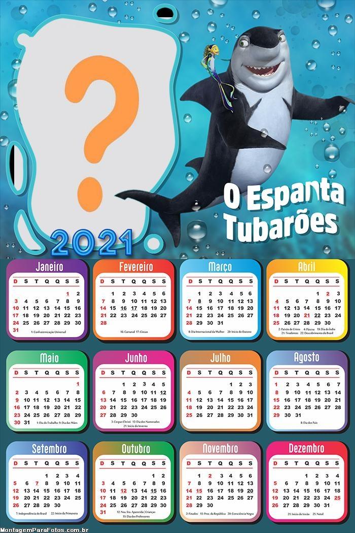 Calendário 2021 O Espanta Tubarões para Impressão