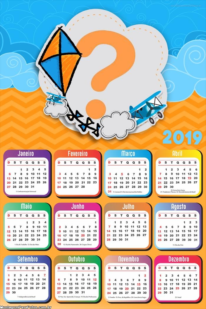 Calendário 2019 Pipa Laranja e Azul