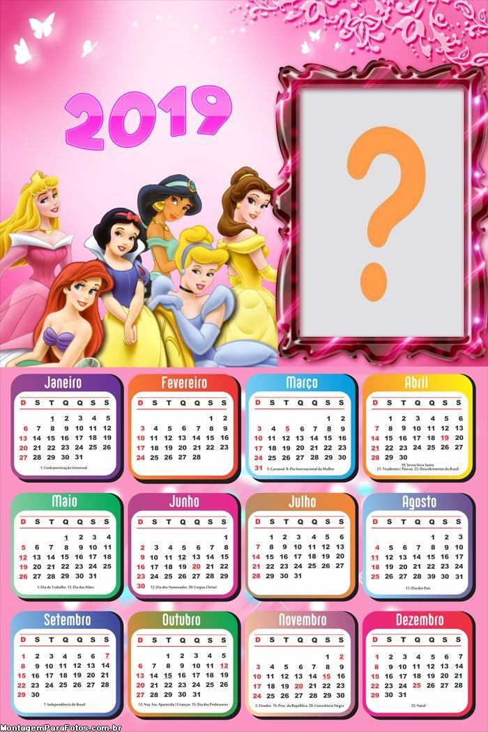 Calendário 2019 Princesas da Disney