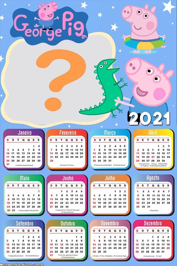 Juntar Foto em Calendário 2021 George Pig