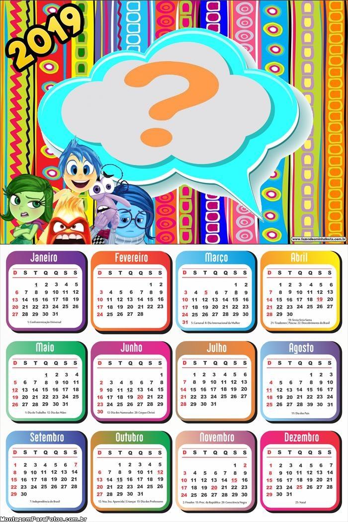 Calendário 2019 Divertidamente