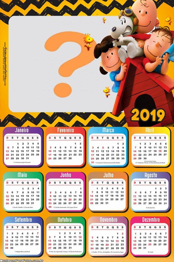 Calendário 2019 Snoopy Desenho