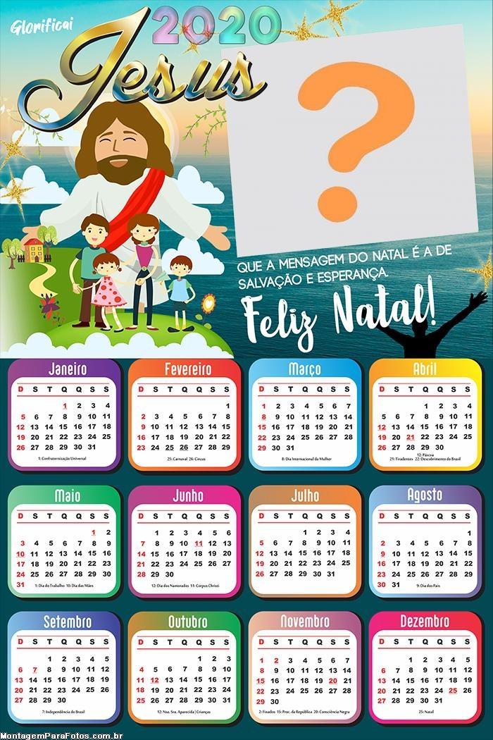 Calendário 2020 Feliz Natal Jesus