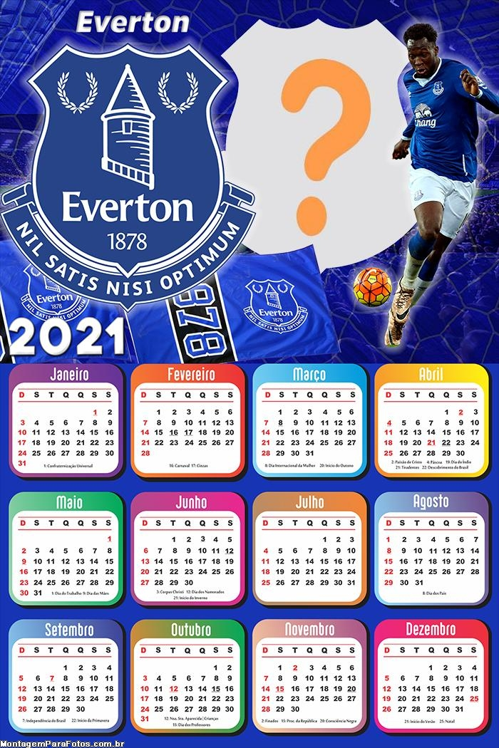 Calendário 2021 Everton Football Club