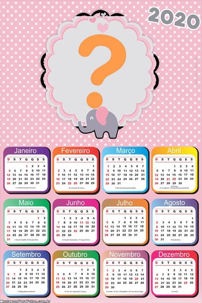 Calendario Rosa 2020.Calendario 2020 Elefantinho Rosa E Cinza Montagem Para Fotos