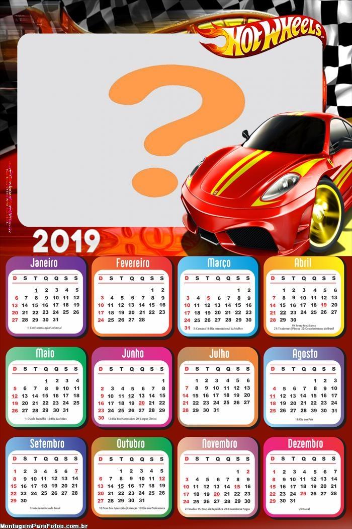 Calendário 2019 Hot Wheels Carro Vermelho