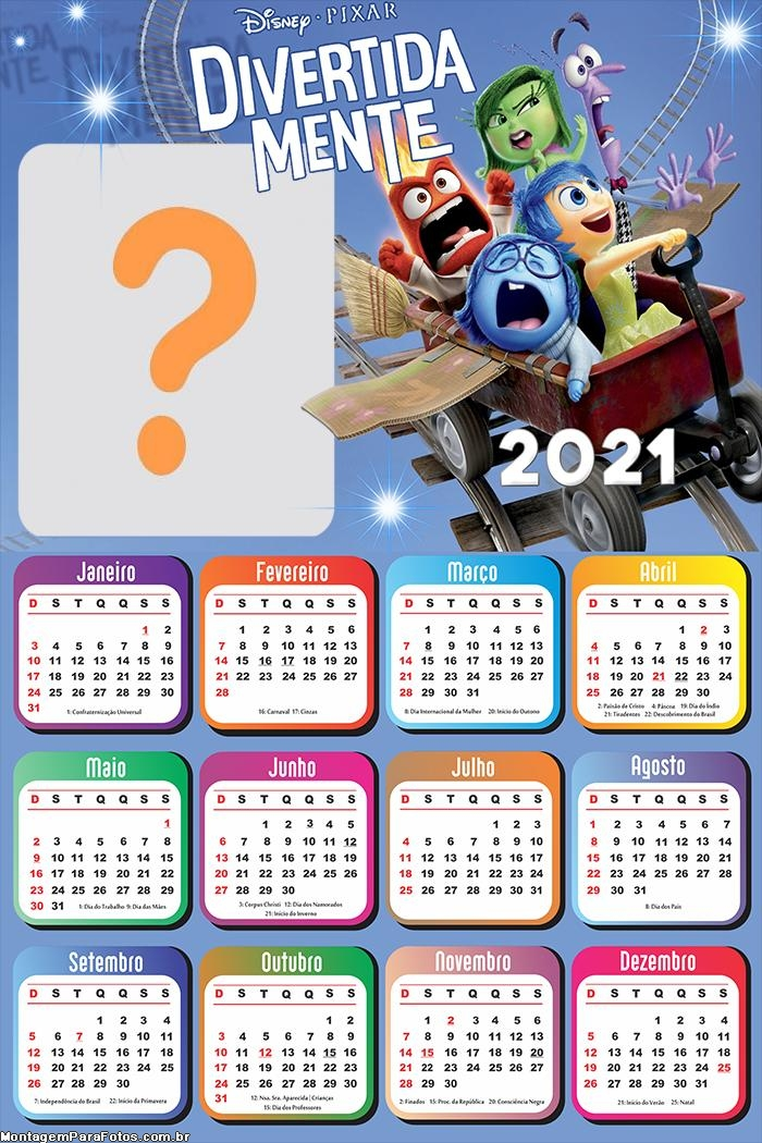 Calendário 2021 Divertidamente Foto Montagem