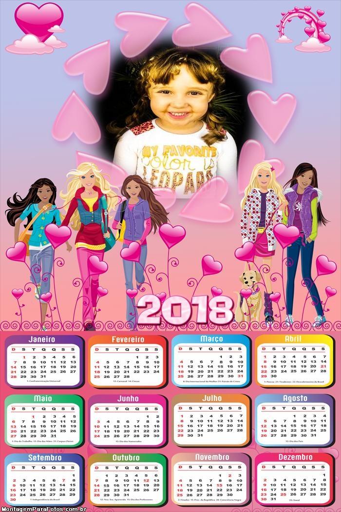 Calendário 2018 Barbie Amigas
