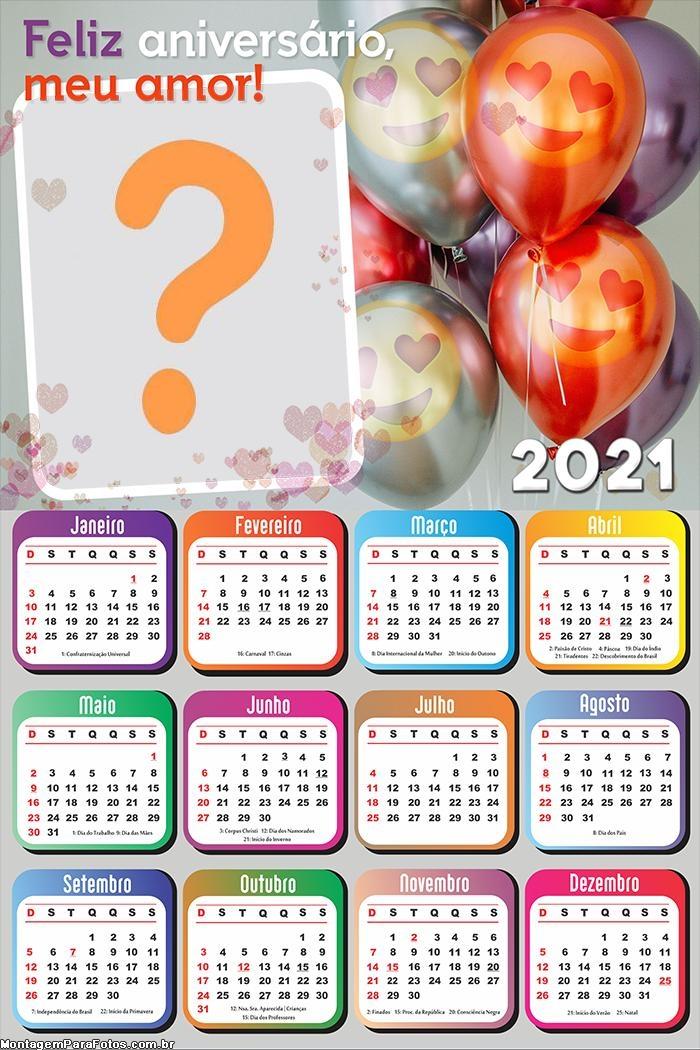 Calendário 2021 de Feliz Aniversário para Namorados
