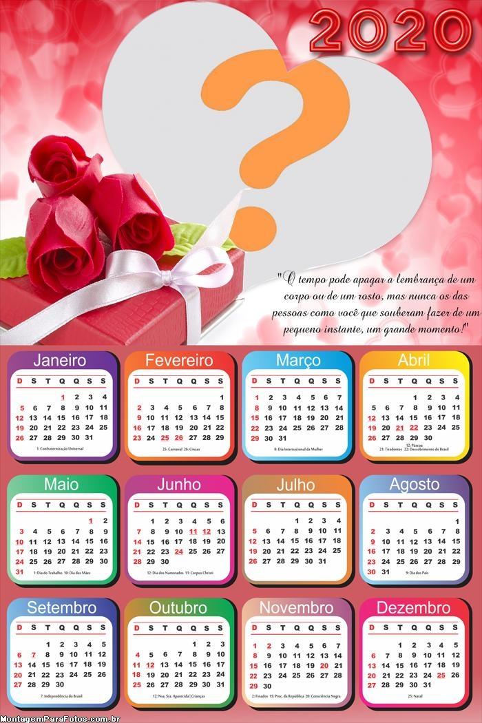Calendário 2020 de Amor com Mensagem