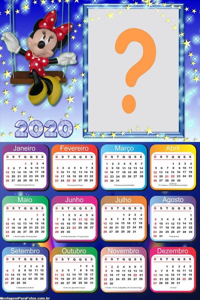 Calendário 2020 Minnie Máscara Digital