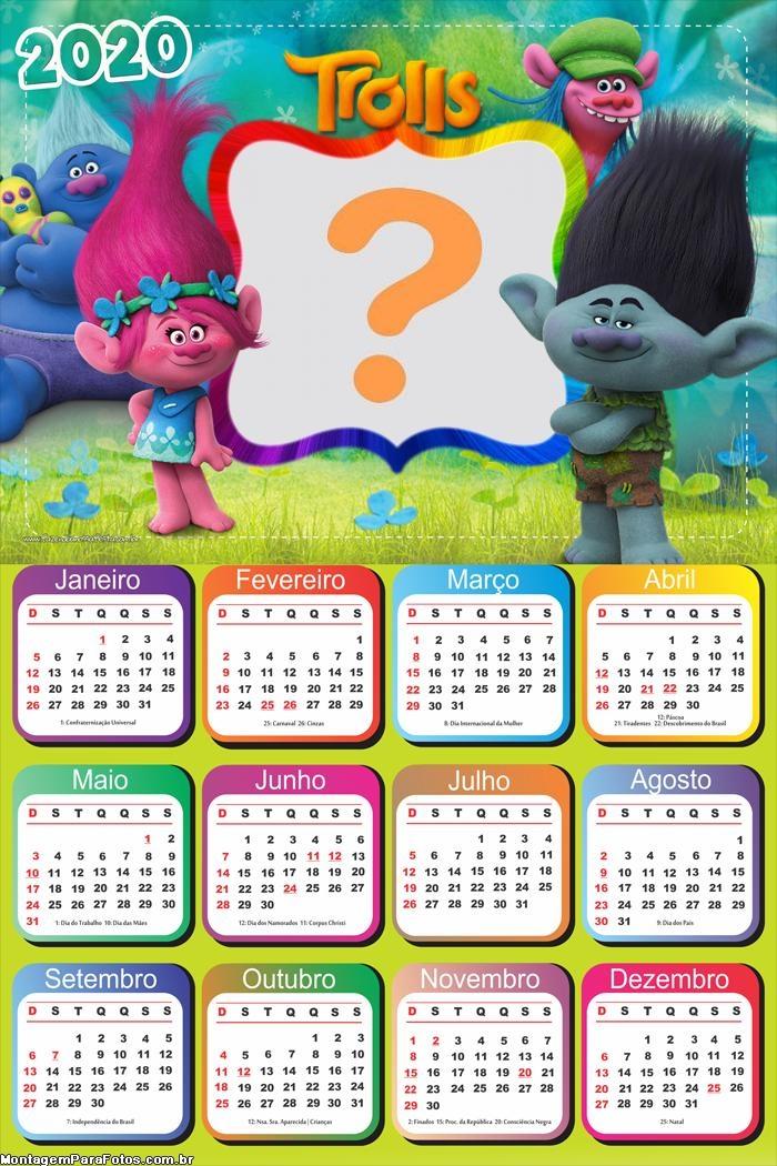 Calendário 2020 Trolls Personagens Montagem Digital
