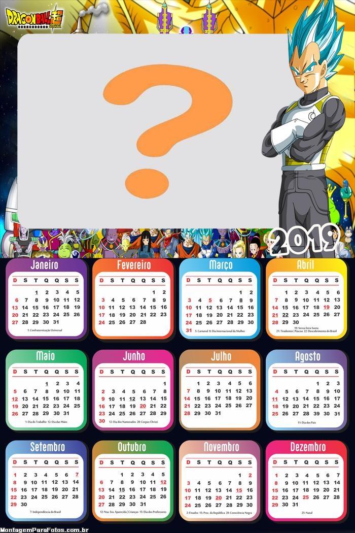 Calendário 2019 Vegeta Super Sayajin