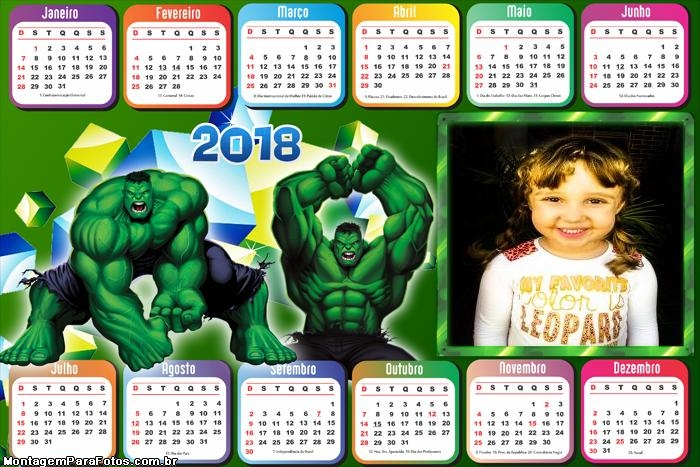 Calendário 2018 Horizontal Hulk