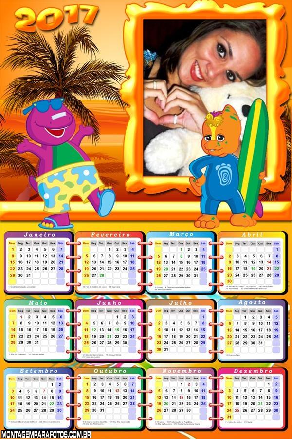 Calendário 2017 do Barney