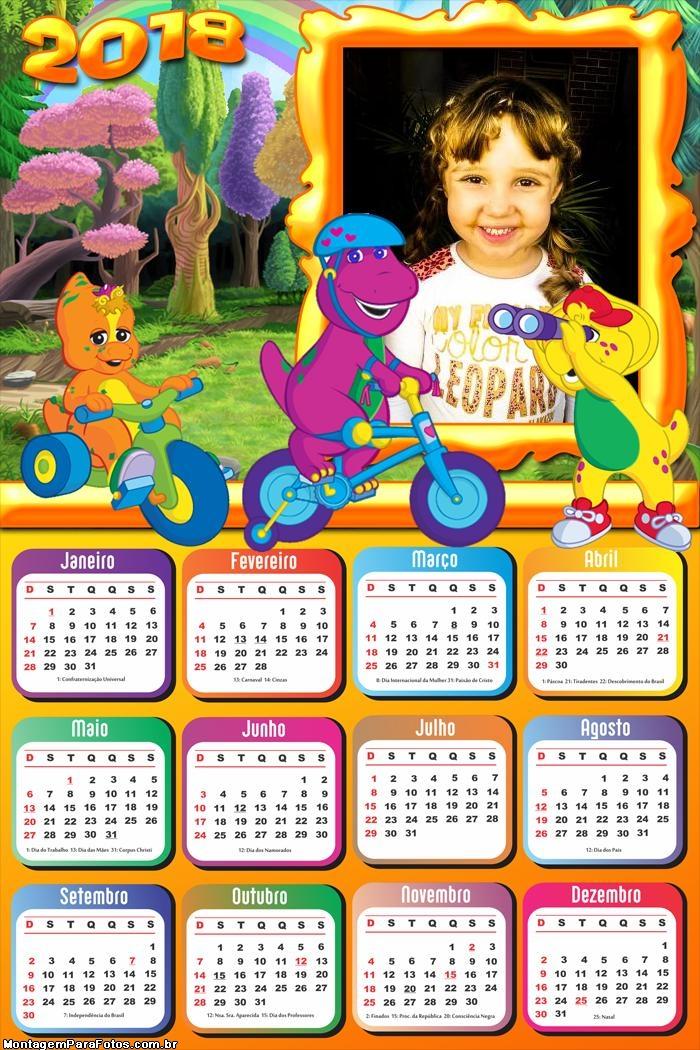 Calendário 2018 Barney Bicicleta FotoMoldura