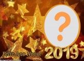 Estrelas Douradas Ano Novo 2019 Moldura