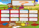 Moldura Infantil Calendário 2020 Cocoricó