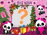 Panda Rosa Feliz Natal Montagem Fotos Grátis