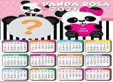 Montagem de Foto em Calendário 2021 Panda Rosa