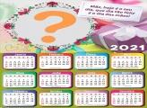 Colagem Grátis Calendário 2021 Que Dia tão Feliz Mãe