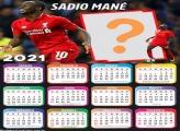 Calendário 2021 Sadio Mané Jogador de Futebol