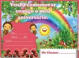 Convite Aniversário Abelhinha e Arco Íris
