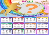 Calendário 2021 Unicórnio Dourado com Foto Online