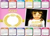 Calendário 2018 Realeza para Meninas Rosa